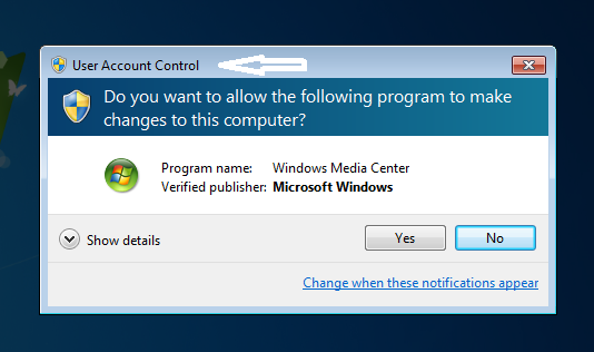 Re activate User Account Control in Windows 7