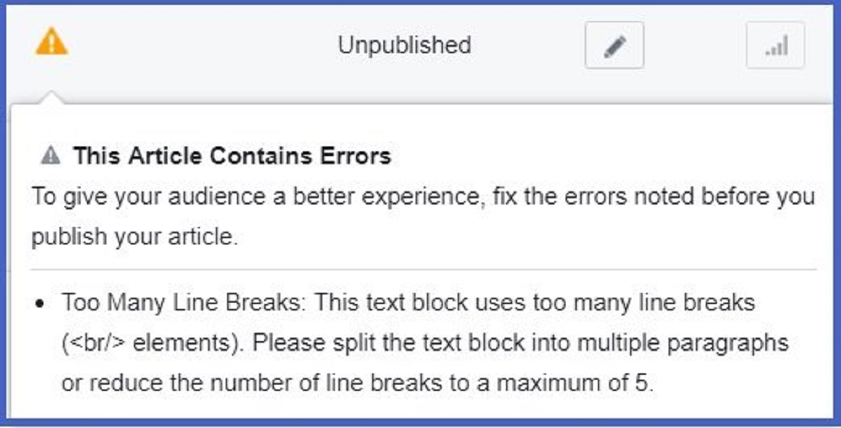 FB instant articles to many line breaks