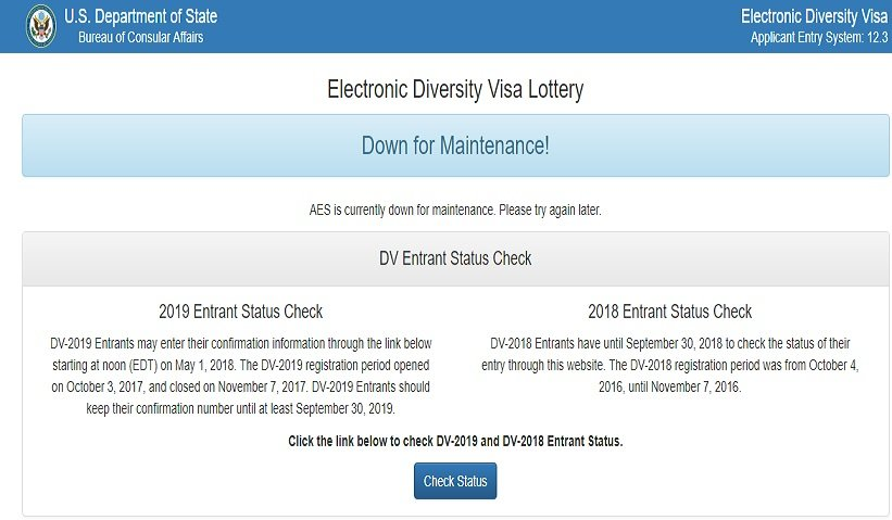 Down for Maintenance! Electronic Diversity Visa Lottery