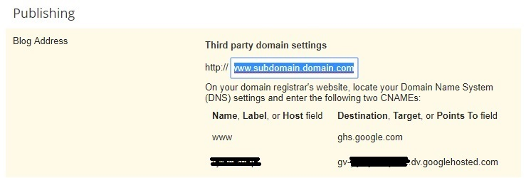 add subdomain to blogger
