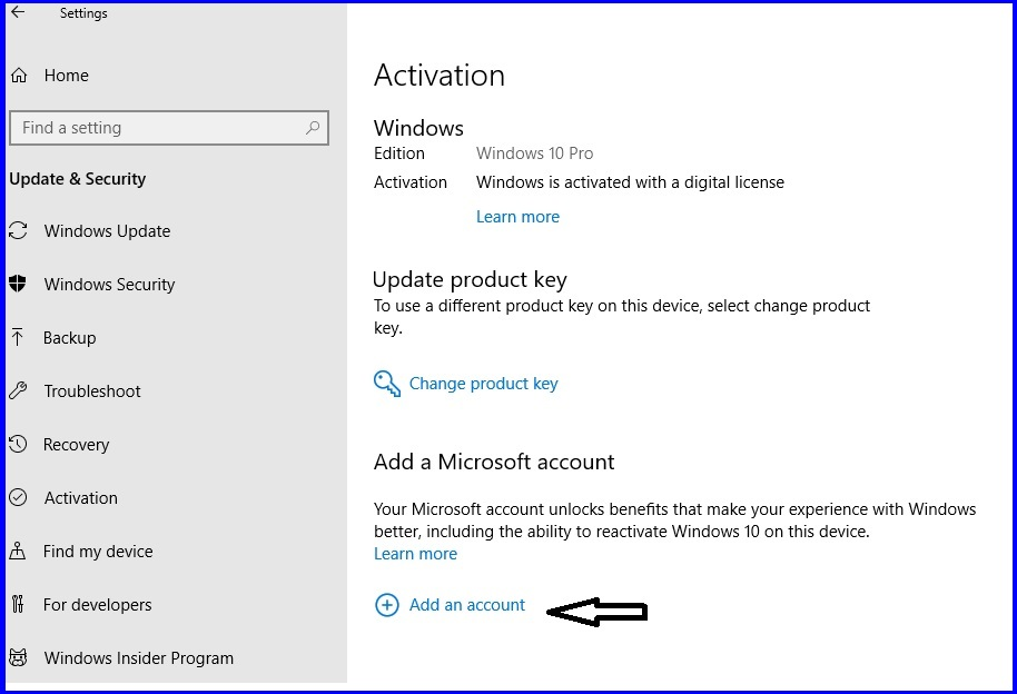 save windows 10 digital license in your account