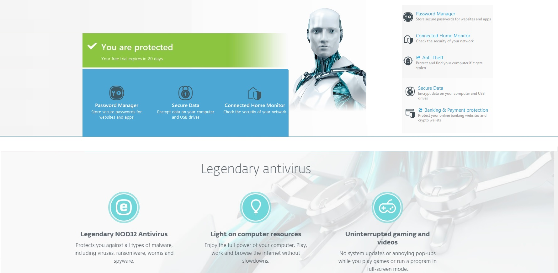 ESET Nod32 Antivirus, Smart Security and Internet Security