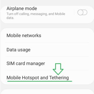 """Swipe to """"Mobile Hotspot and Tethering""""."""